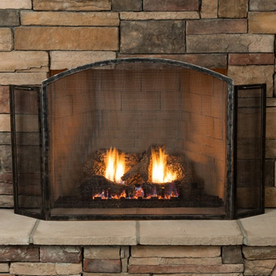 Forged Fireplace Screens : Hand forged fireplace screen panel design grizzly model