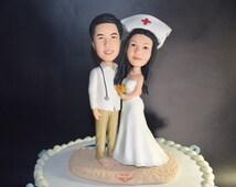 Custom wedding cake topper Doctors and nurses topper funny cartoon figure Personal cake topper