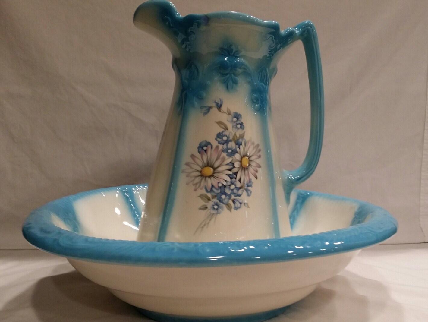 Vintage Large Wash Bowl And Pitcher Set Vanity Set Wash Basin