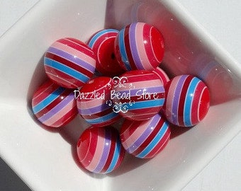 20mm resin multi STRIPE chunky bead