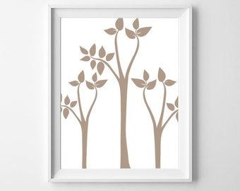 Abstract Tree Art, Tree Print, Instant Download, Modern Art Print, Simple Decor, Mocha Wall Art
