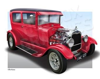 Personalised Illustration of Your 1929 Ford Model A TUDOR SEDAN