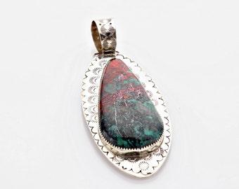Beautiful orginal design german silver pendant with a natural teardrop Sonorian Sunrise stone