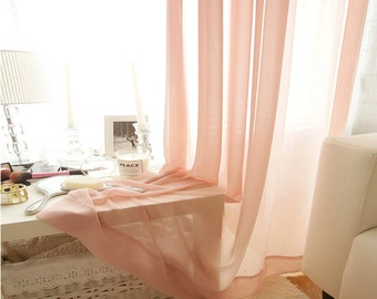 Coral Pink Sheer Plain Curtain Voile Panel
