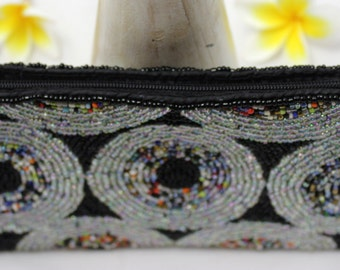 Black grey multicolor, Beaded hand bag, Bags and Purses, beads handbag,  cosmetics purse Iphone purse beaded, Zipper Pouch Makeup Bag B010