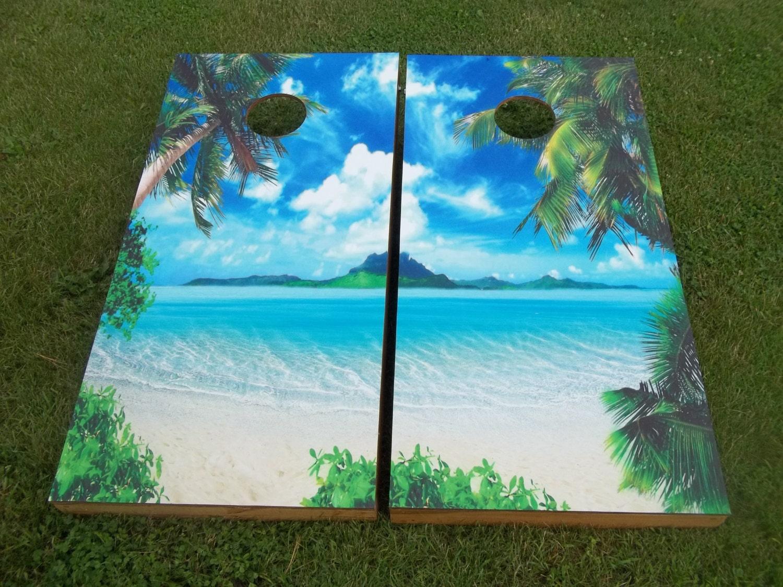Beach Scene Corn Hole Boards Bean Bag Toss Game
