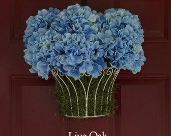 Blue Hydrangea Hanging Basket - White Hydrangea Basket