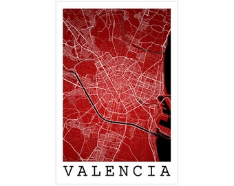 Valencia Street Map, Valencia Spain, Modern Art Print, Valencia Poster, Valencia Wall Art, Valencia Gift Idea, Valencia Decor, Office Decor