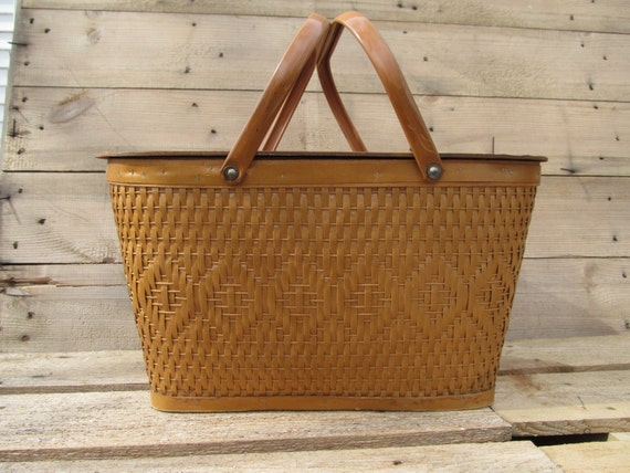 Vintage Red-Man Wicker Picnic Basket / Hamper With Metal