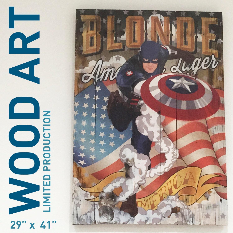 Captain America Wood Wall Art Superhero Artwork Wall Decor