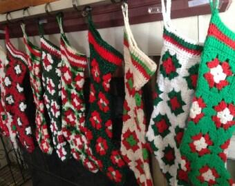 Granny Square Stocking, Crochet Christmas Stocking, Christmas Stocking, Crochet Stocking, Stocking, Granny Square