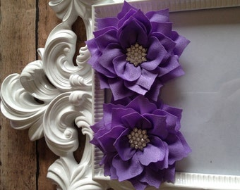 Purple Poinsettia Flower with rhinestone center, wholesale flower, diy headband, boutique supplies