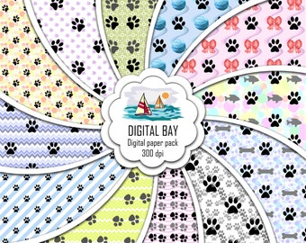 """PAWS - Digital paper pack – Instant download - Scrapbooking Paper – Seamless - 12"""" x 12"""" - Personal &Commercial –Digital background"""