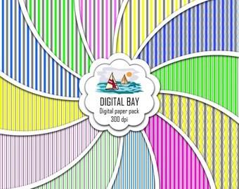 "STRIPES- Digital paper pack – Instant download - Scrapbook Paper – Seamless - 12"" x 12"" - Commercial use –Digital background"