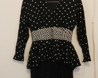 vintage silk Black and White dress size 12.