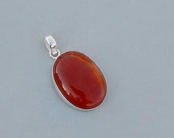 Oval Shape Red Onyx Gemstone 925 Silver Pendant