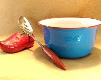 """Czechoslovakian 7 1/2"""" Enamel Mixing Bowl enamelware"""