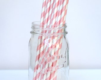 Striped Paper Straws Baby Pink Pack of 25 Party Decor