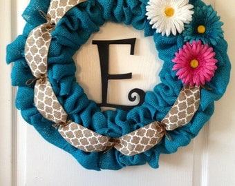 Spring daisy burlap wreath