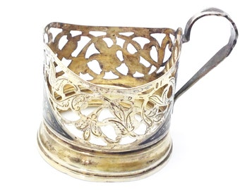 VintageTea Cup Holder 875 Sterling Silver Nielo Russian Sovietic Handmade