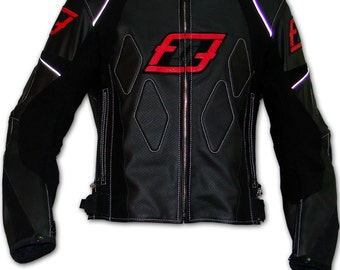 Black leather motorbike jacket, leather motorcycle jacket made to measure Fashion Racing