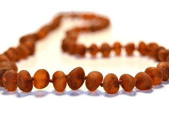 Raw Amber Necklace for Adults, 45 cm-50 cm (17.7-19.6 inches), Cognac Color, Made of Unpolished Baroque Baltic Amber Beads, Knotted, A5-3BU