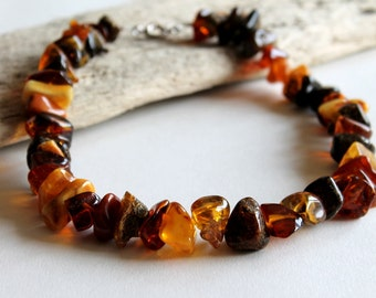 Massive amber necklace, natural Baltic amber, sterling silver clasp, massive necklace, Handmade necklace, amber beads, multicolor necklace