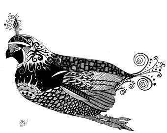 Quail Art, Quail Feather, Bird Wall Art, Archival Print, Zentangle Art, Whimsical Art, Whimsical Decor - Quail's Flight
