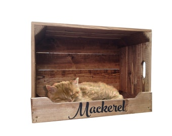 Personalised Wooden Pet Bed Crate for Cats & Small Dogs