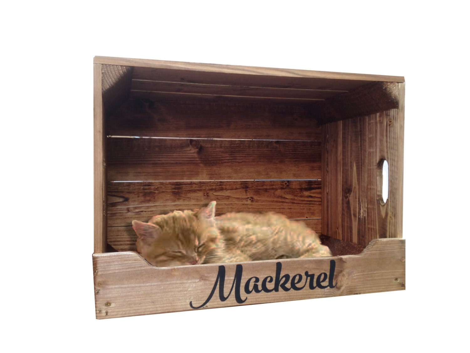 Very Impressive portraiture of Personalised Wooden Pet Bed Crate for Cats & Small by Crates4YouUK with #8E673D color and 1500x1125 pixels