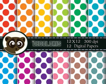 Large dots printable digital paper for instant download. Colorful dots digital papers for scrapbooking and crafts and small commercial use