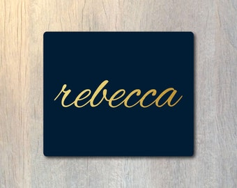 Gold Foil Script Name Mouse Pad - Modern Typography Custom Personalized - Computer or Office Work Station Decor
