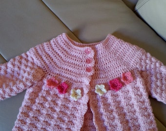 Pink shell stitch Cardigan for baby girl (3-6 months)