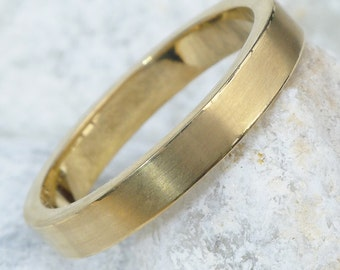 Matte Finish Wedding Ring in 18k Gold - with Polished Edges - Eco Friendly - Yellow, Rose or White Gold - Handmade to Size