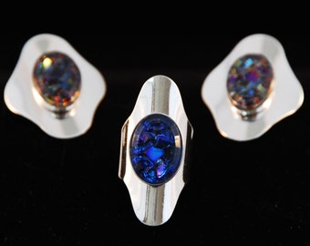 Vintage Sarah Coventry Art Glass Ring and Earring Set