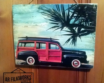 """11"""" by 14"""" Beach seen Picture with a Woody Wagon"""