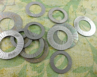 12 Old Silver Metal Washers with Lines