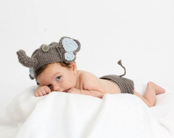 Children's animal diaper cover and hat set.