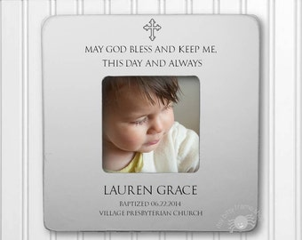 Baptism Gift Christening Gift Godparents Gift Gift for Godparents Baptism Frame Christening Frame May God Bless and Keep Me IBFSBAPT