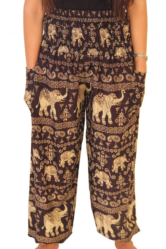 LAST ONE Harem Pants Elephant Pants Black Boho Handmade Rayon Unisex Genie Yoga Trousers
