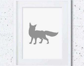 Grey Fox Print, Fox Silhouette, Fox Art Print, Nursery Animal Print, Printable Art, Downloadable Print, Wall Print, Animal Print