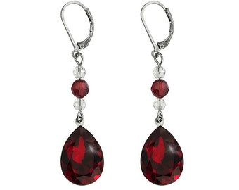 TANIA 3 bridal earrings with Swarovski red (siam) pear shape cabochons, siam and crystal clear Swarovski round beads