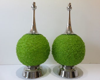 Pair Of Mid-Century Modern Chartreuse Green Spun Spaghetti Lamps With Chrome Hardware.