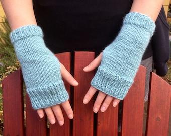 Robins Egg Blue Fingerless Gloves