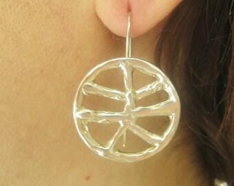 Handmade silver earring, Short earrings, Sterling silver 925 earrings,Melted earrings