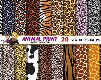 Animal Print digital paper, leopard  print, zebra print, giraffe, safari pattern, animal skin, zebra stripes, Scrapbooking Paper, Scrapbook