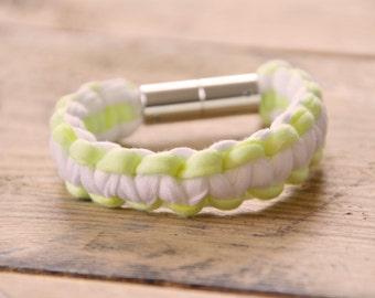 braided bracelet - white / yellow neon - handmade
