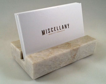 Business Card Holder - White Quartzite - Home Office Desk, Recycled Quatzite, Recycled Stone