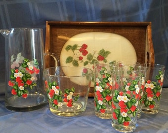 Strawberry Serving Glassware Set - Cross Stitch Tray
