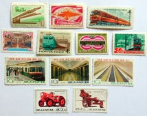 Set of 12 Soviet and Chinese stamps. Railway. 1966-1982.
